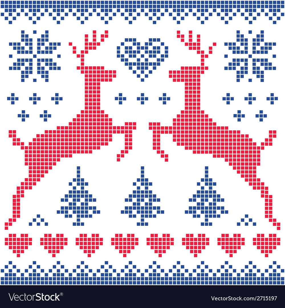 Winter christmas red and navy pattern card vector | Price: 1 Credit (USD $1)