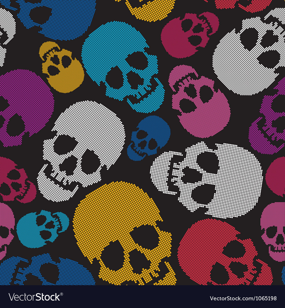Colorful skulls on black background vector | Price: 1 Credit (USD $1)
