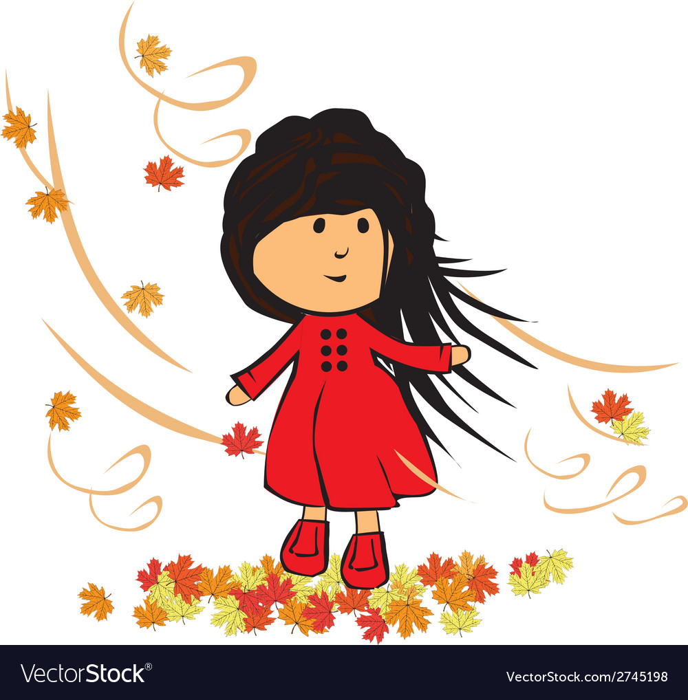 Little girl in autumn vector | Price: 1 Credit (USD $1)
