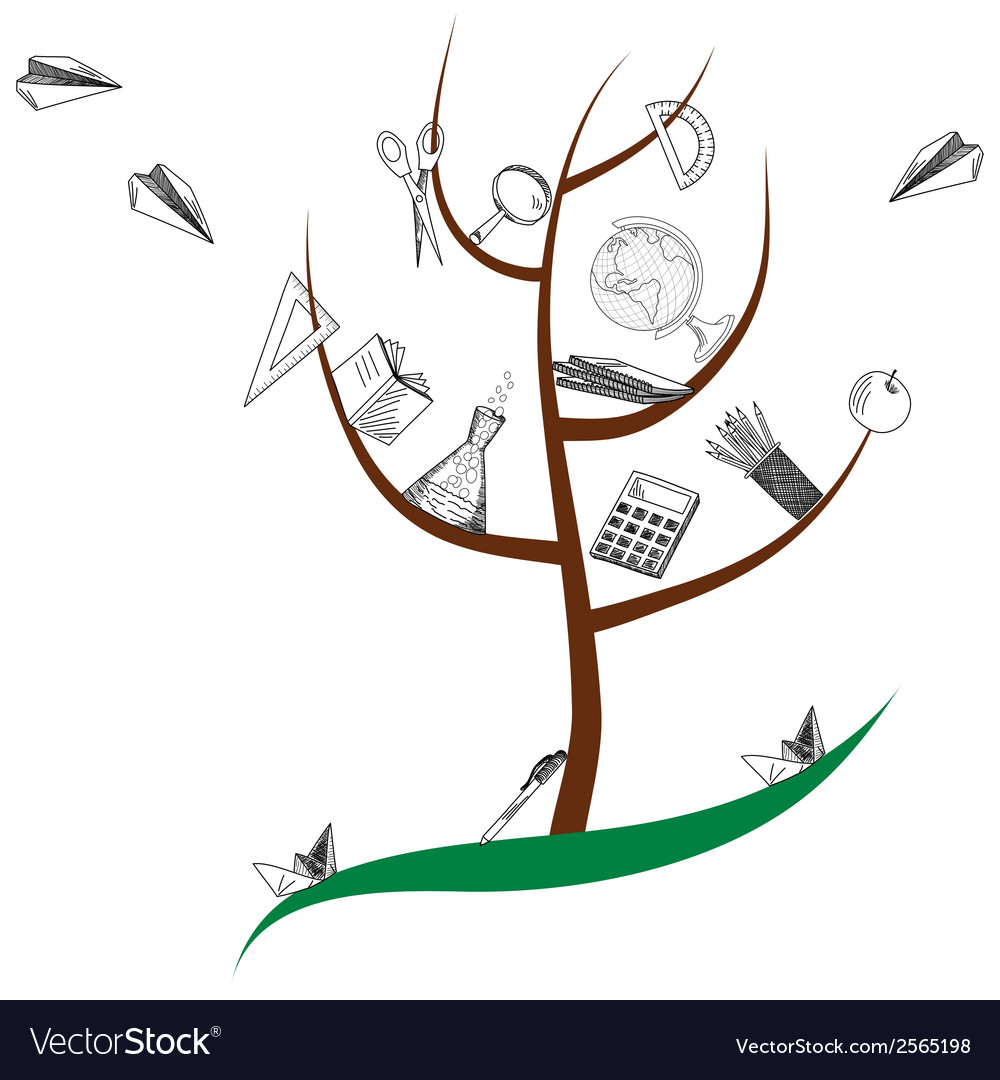 School tree vector | Price: 1 Credit (USD $1)