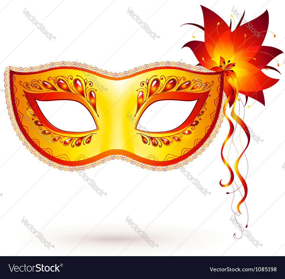 Yellow venitian carnival mask vector | Price: 1 Credit (USD $1)