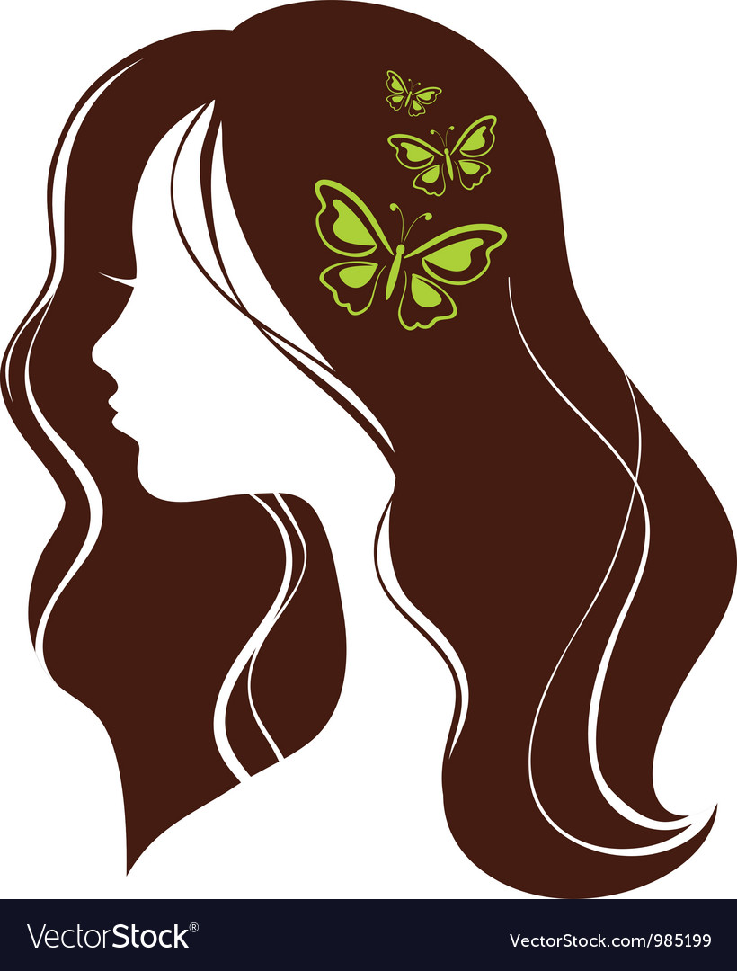 Beautiful girl with butterflies vector | Price: 1 Credit (USD $1)