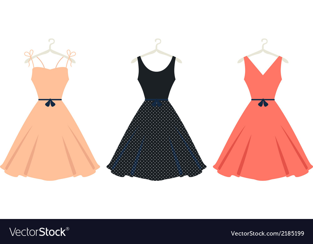 Beautiful retro summer dress set isolated on white vector | Price: 1 Credit (USD $1)