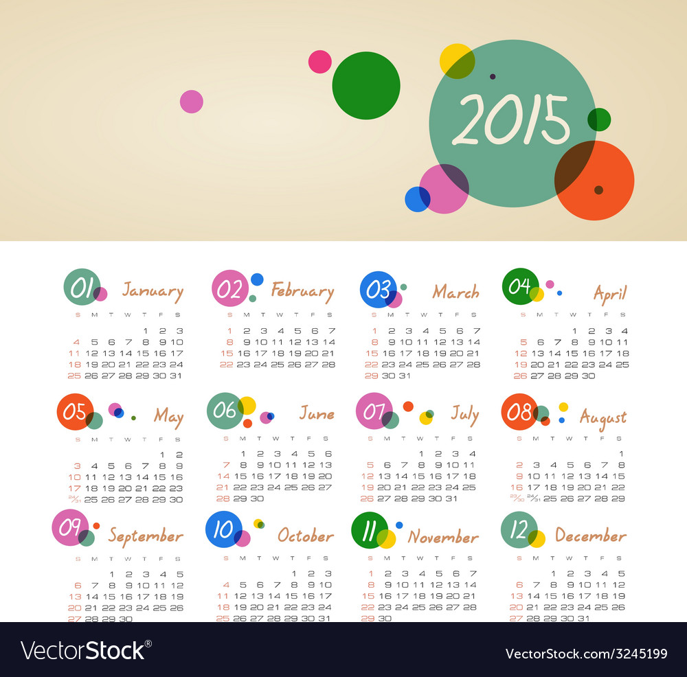 Calendar 2015 year with circles vector | Price: 1 Credit (USD $1)