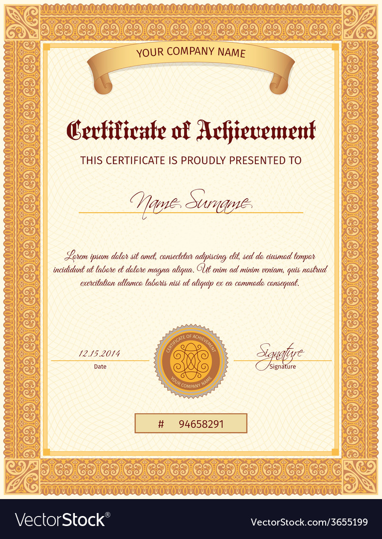 Certificate template vertical vector | Price: 1 Credit (USD $1)