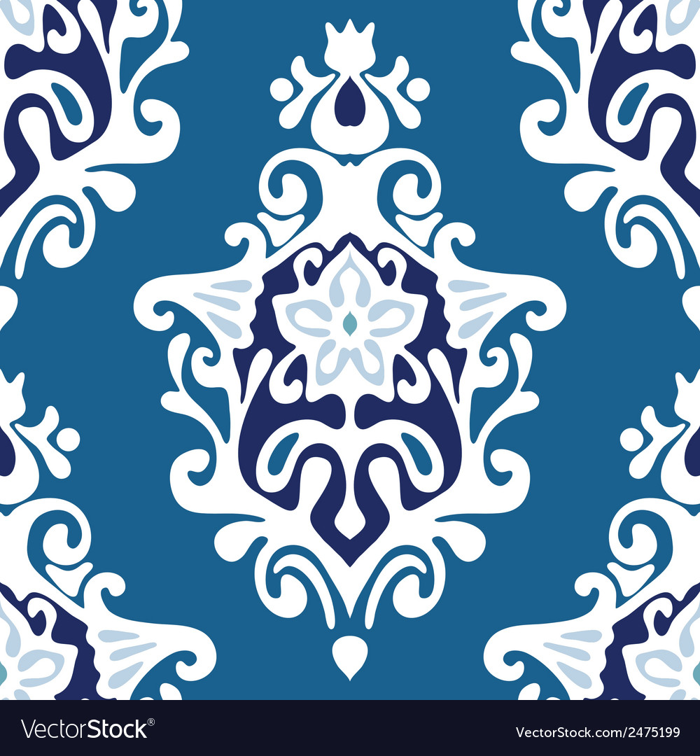 Damask flower seamless vector | Price: 1 Credit (USD $1)