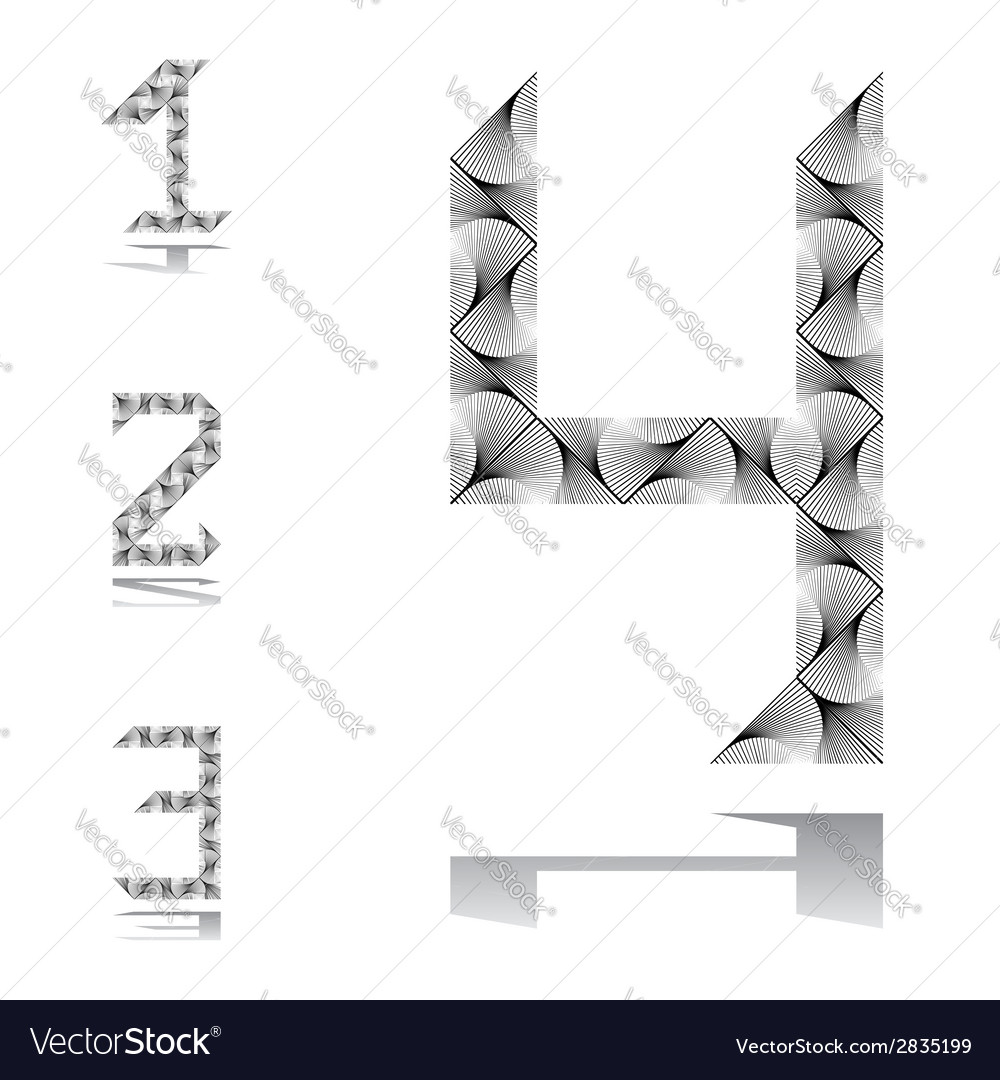 Design numbers set from 1 to 4 vector | Price: 1 Credit (USD $1)