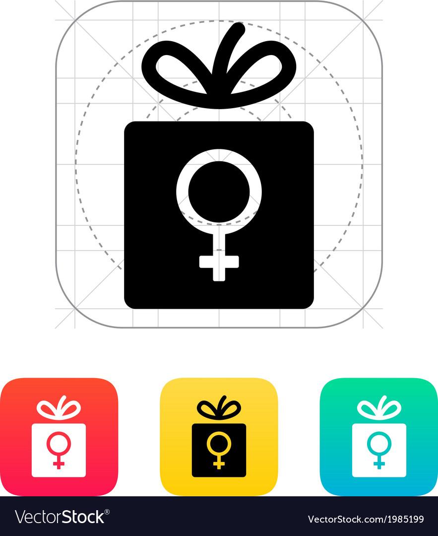 Female gift icon vector | Price: 1 Credit (USD $1)