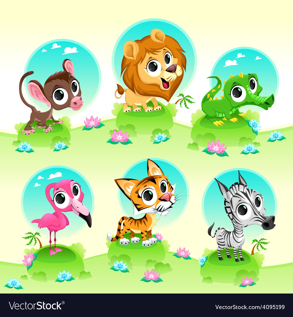 Funny wild animals with background vector | Price: 3 Credit (USD $3)