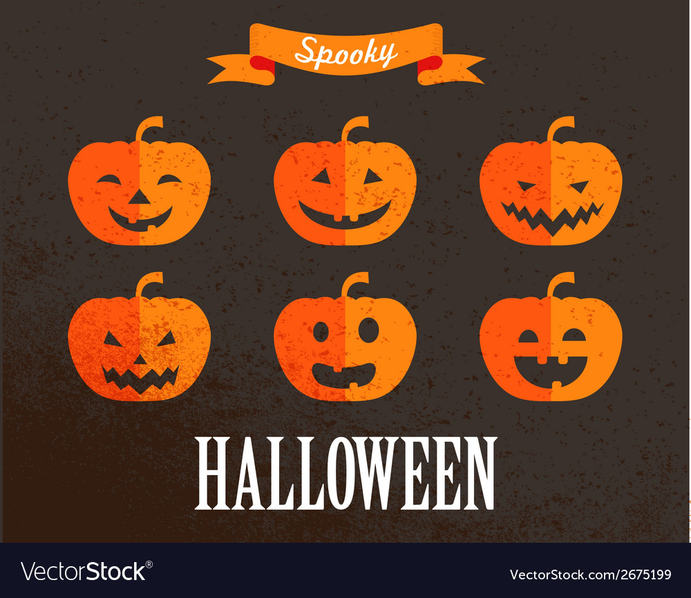 Halloween cute set of pumpkin icons vector | Price: 1 Credit (USD $1)