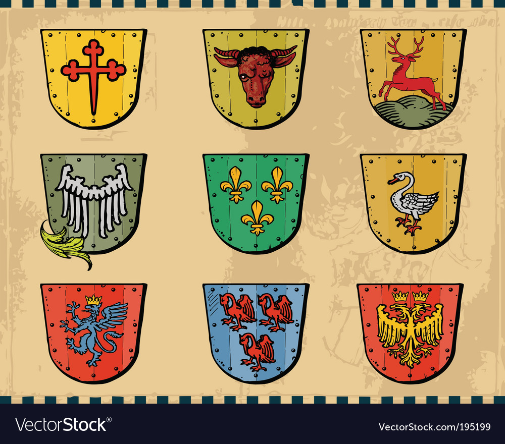 Heraldic shields vector | Price: 1 Credit (USD $1)