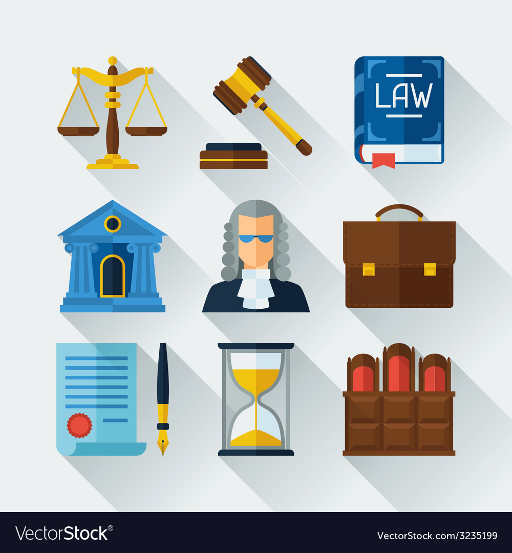 Law icons set in flat design style vector | Price: 1 Credit (USD $1)