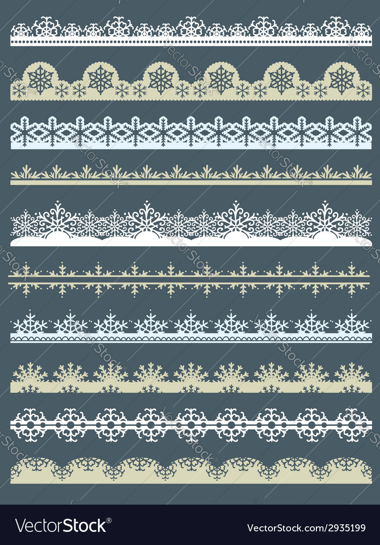 Set of lace paper for christmas with snowflakes vector | Price: 1 Credit (USD $1)