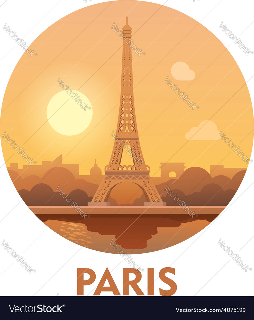 Travel destination paris icon vector | Price: 3 Credit (USD $3)