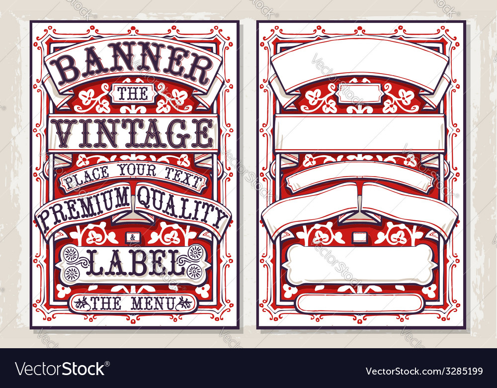Vintage hand drawn graphic banners and labels vector | Price: 3 Credit (USD $3)