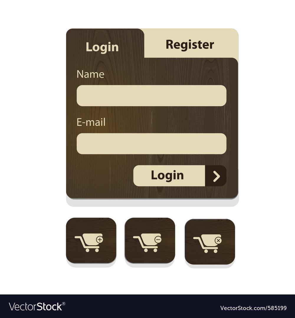 Wood login menu vector | Price: 1 Credit (USD $1)