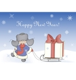 Boy pulling sledge with a gift box vector