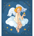 Cute angel girl sitting on a cloud vector