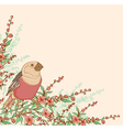 Bird sitting on a flowering branch vector