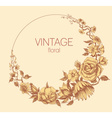 Round floral frame vintage style vector