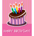 birthday chocolate cake with burning candle vector