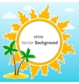 Sun and island round background vector