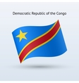 Democratic republic of the congo flag waving form vector