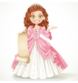 Cute young princess with curly brown hair hold a vector