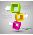 Three empty boxes with arrows 3d vector
