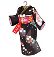 A floral asian dress vector