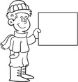 Cartoon boy wearing winter clothing with a sign vector
