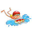 A young boy swimming vector