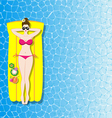 Woman relaxing on inflatable mattress in the sea vector