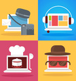 Set of white laptop profession vector