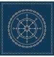 Marine emblem with ships wheel vector