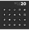 Thin seo 2 icons on dark gray vector
