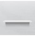 White realistic shelf against brick wall vector