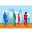 Silhouettes of people going about their business vector