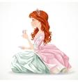 Beautiful princess with brown hair hold cup of tea vector
