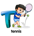A letter t for tennis vector