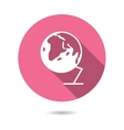 Trendy round globe earth icon with long shadow vector