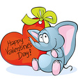 Funny elephant with red heart - happy valentines vector