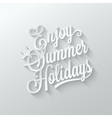 Summer holidays cut paper lettering background vector