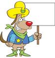 Cartoon cowboy dog holding a sign vector