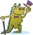 Cartoon dinosaur tipping his hat vector