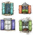 Set of vintage windows hand drawn vector