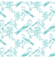 Seamless spring cherry pattern with birds vector