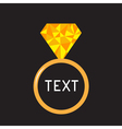 Wedding ring with yellow diamond polygonal effect vector