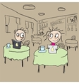 Girl in cafe flirting ogle cartoon vector