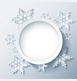 Winter grey background wallpaper with 3d snowflake vector